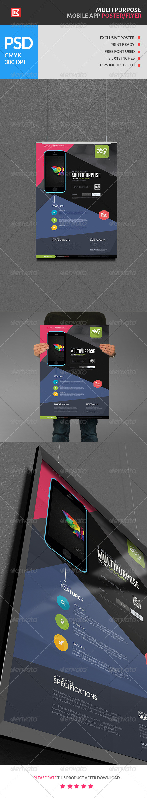 Multipurpose Mobile App Poster/Flyer - Miscellaneous Events