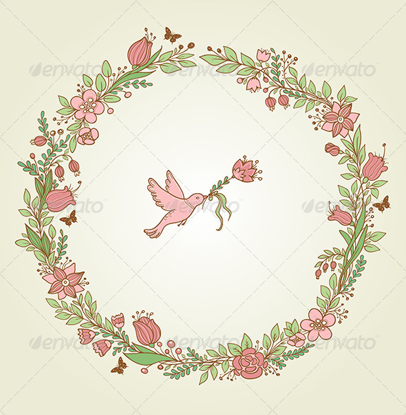 Floral Frame and Bird - Backgrounds Decorative