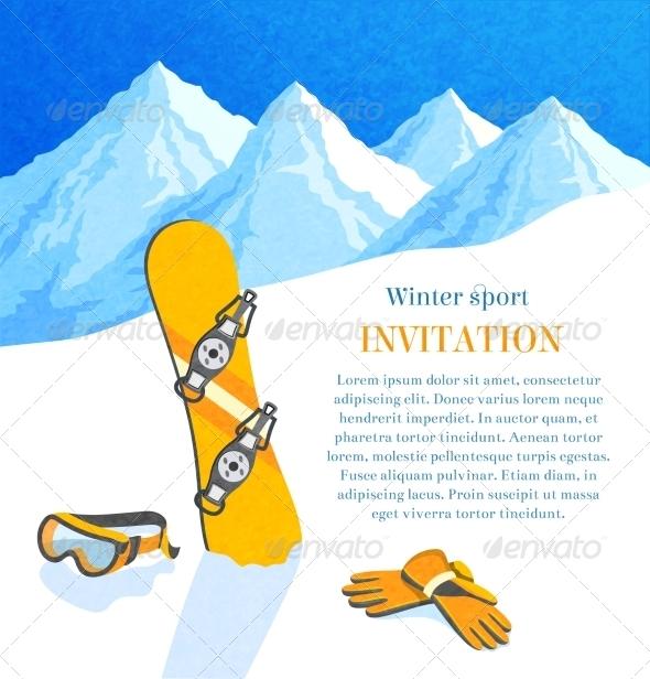 Snowboard Winter Invitation - Christmas Seasons/Holidays
