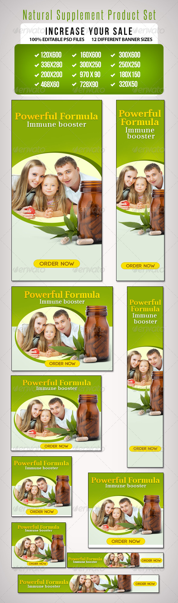 Natural Supplement Product Set II - Banners & Ads Web Elements