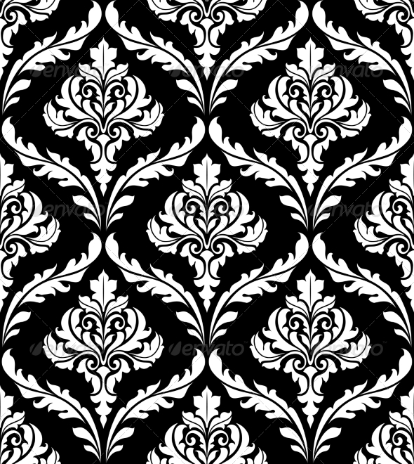 Seamless Arabesque Design in Black and White - Patterns Decorative