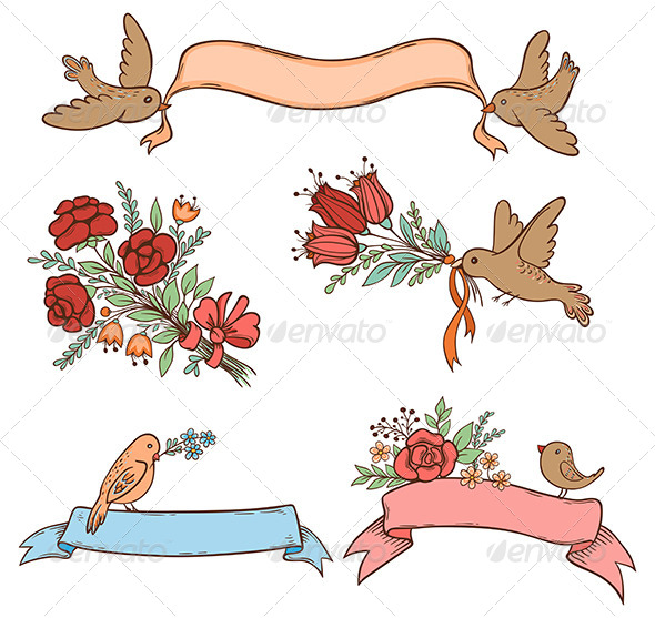Hand Drawn Banners with Flowers and Birds - Decorative Symbols Decorative