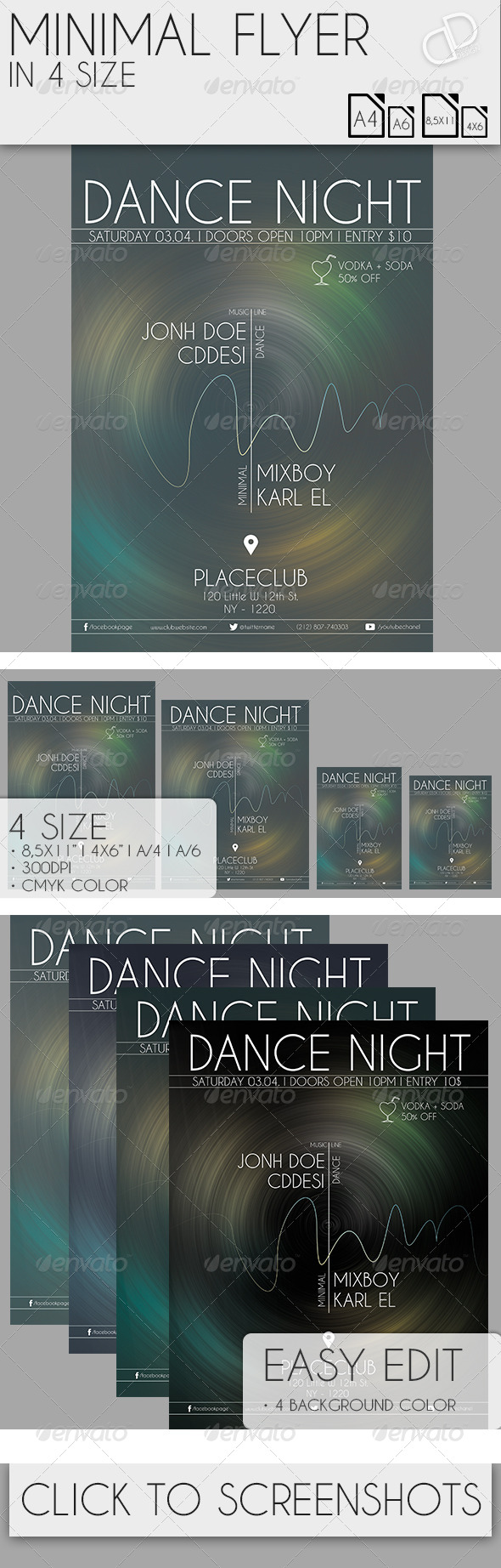 Minimal Flyer in 4 Size - Clubs & Parties Events
