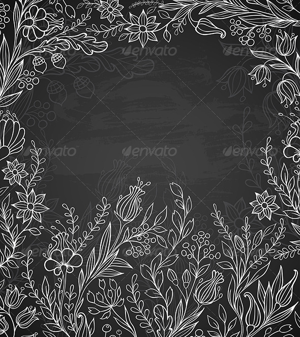 Black Background with White Flowers - Backgrounds Decorative