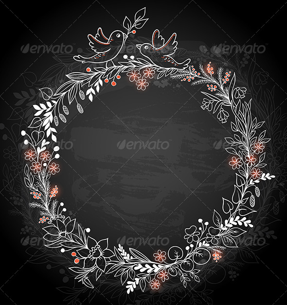 Frame of  Flowers  on a Black Background - Backgrounds Decorative