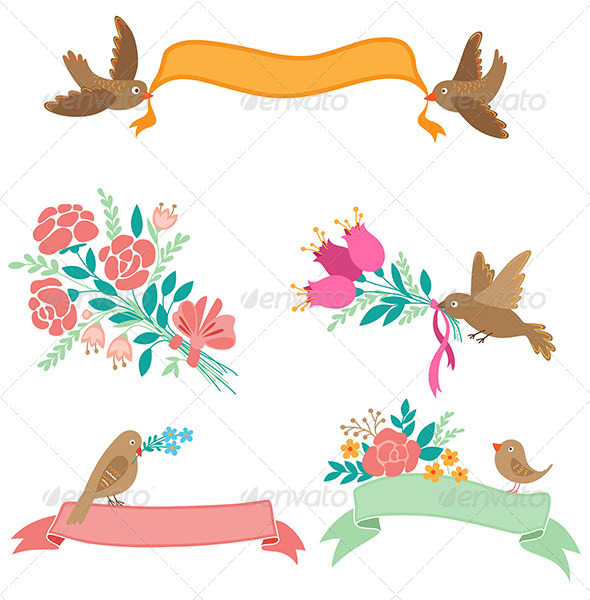 Banners with Flowers and Birds - Decorative Symbols Decorative