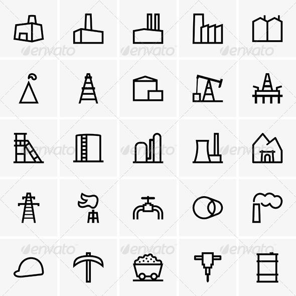 Industrial Icons - Decorative Symbols Decorative