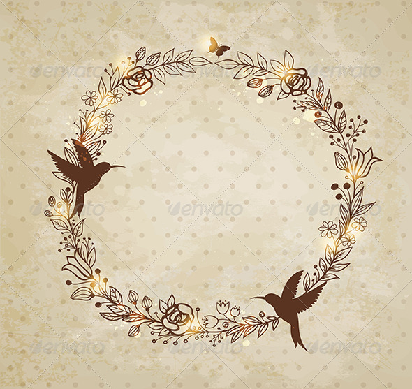 Vintage Hand Drawn Wreath of Flowers - Backgrounds Decorative