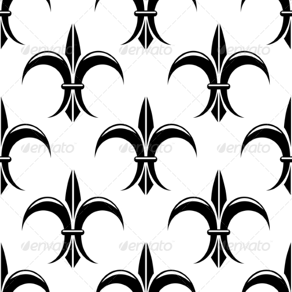 Black and White Fleur de Lys Seamless Pattern - Patterns Decorative