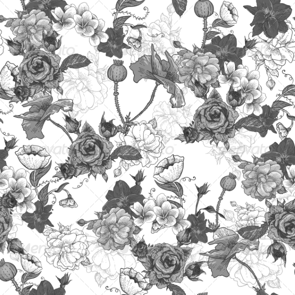 Monochrome Background with Flowers - Patterns Decorative