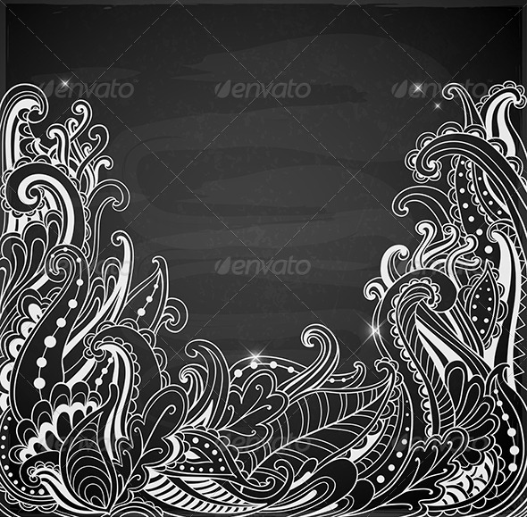 Abstract Hand Drawn Black Background  - Abstract Conceptual