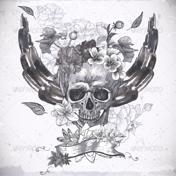 Abstract Background with Skull, Wings and Flowers - Patterns Decorative