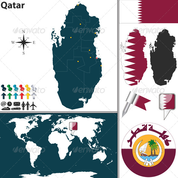 Map of Qatar - Travel Conceptual