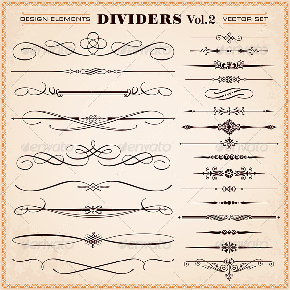 Vector Design Elements, Dividers And Dashes - Flourishes / Swirls Decorative