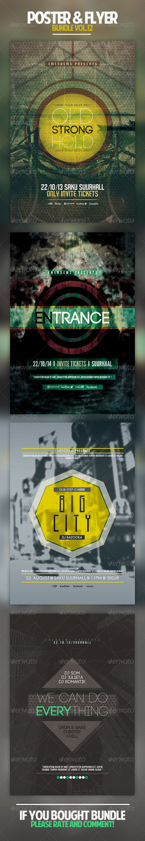 Poster & Flyer Bundle Vol.12 - Concerts Events