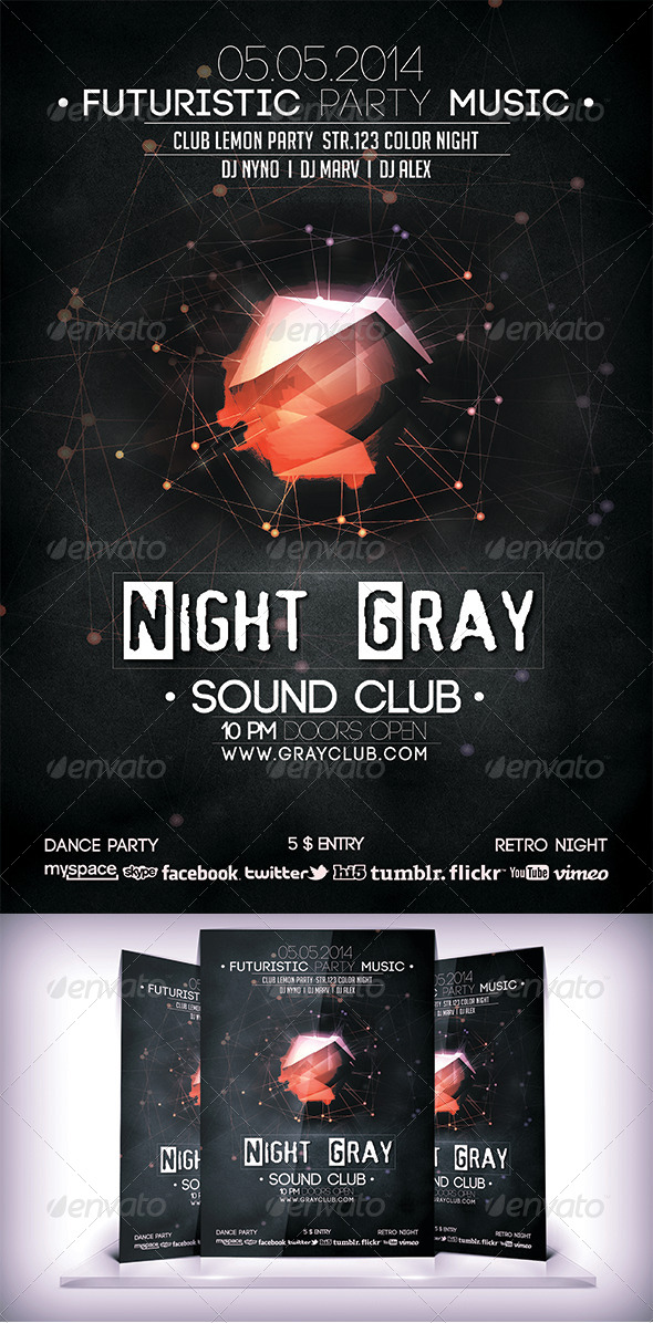 Night Gray Sound Club Flyer - Clubs & Parties Events