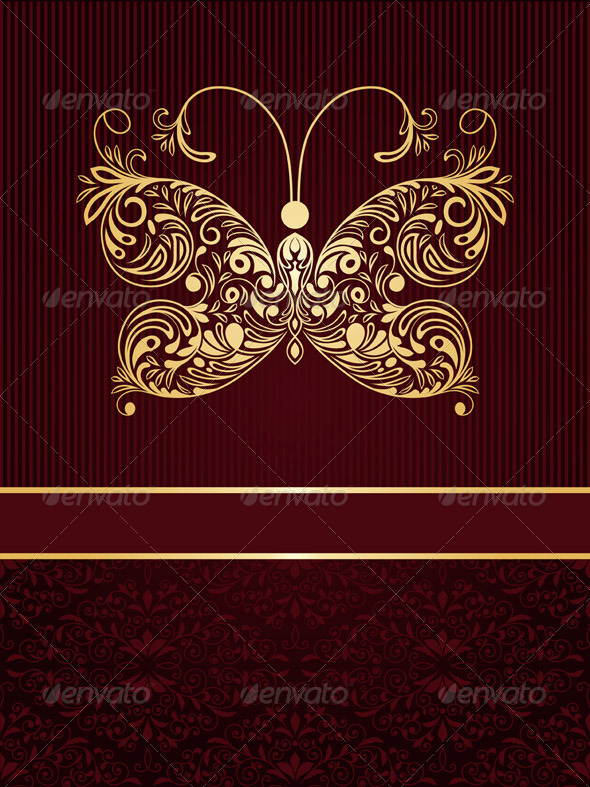 Vector Greeting Card with Golden Butterfly - Decorative Vectors