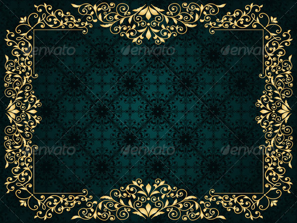 Vector Greeting Card with Golden Frame - Decorative Vectors