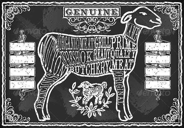 Vintage Blackboard of English Cut of Lamb - Food Objects