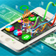 Isometric Virtual Coin Infographic on Mobile Phone - GraphicRiver Item for Sale