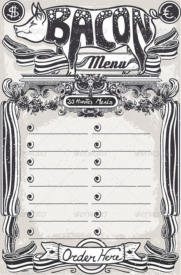 Vintage Page Bacon Menu for Restaurant - Food Objects
