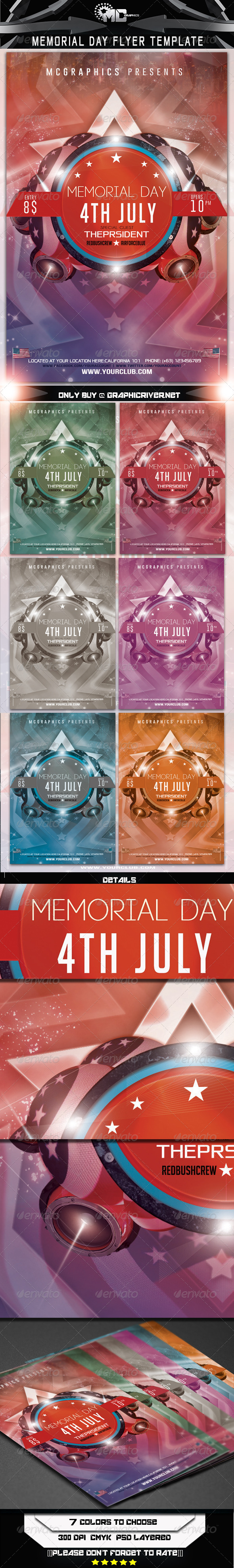 Memorial Day Flyer Template - Flyers Print Templates