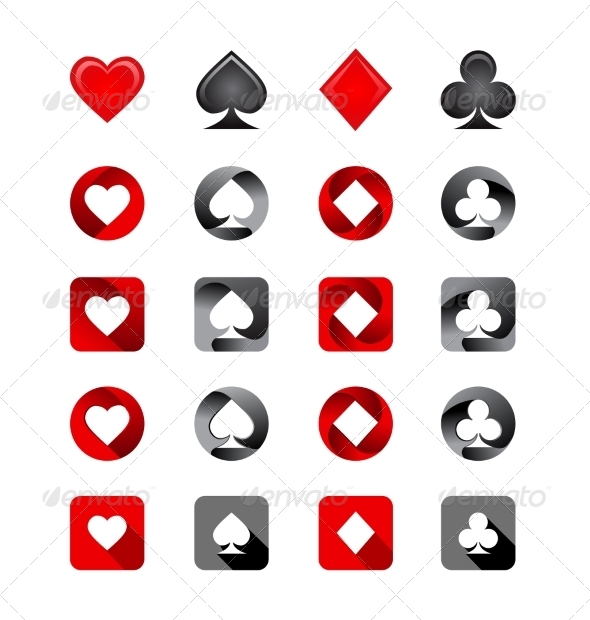 Vector Illustration of Playing Card Suits - Web Elements Vectors