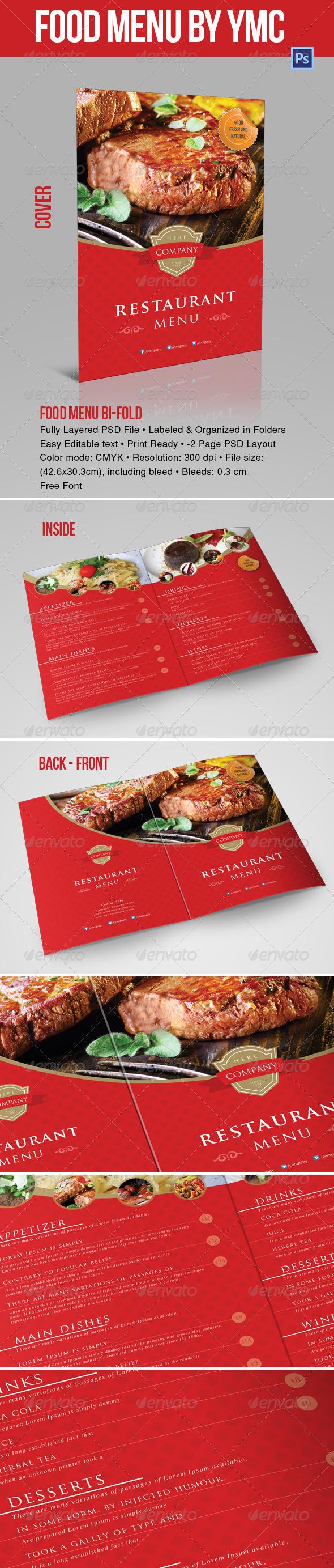 Food Menu Bi-Fold YMC Design - Food Menus Print Templates