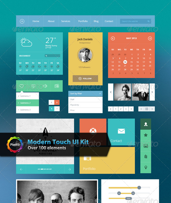Modern Touch UI Kit - User Interfaces Web Elements