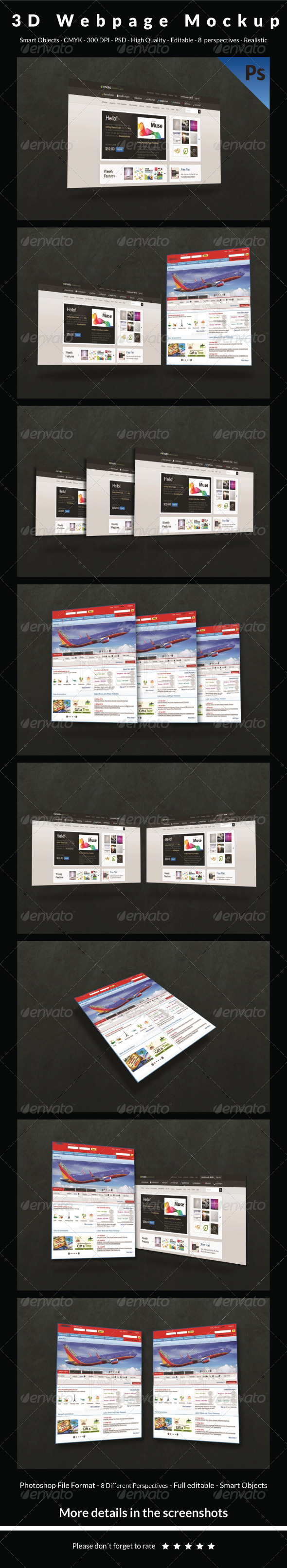 3D Webpage Mockup - Website Displays