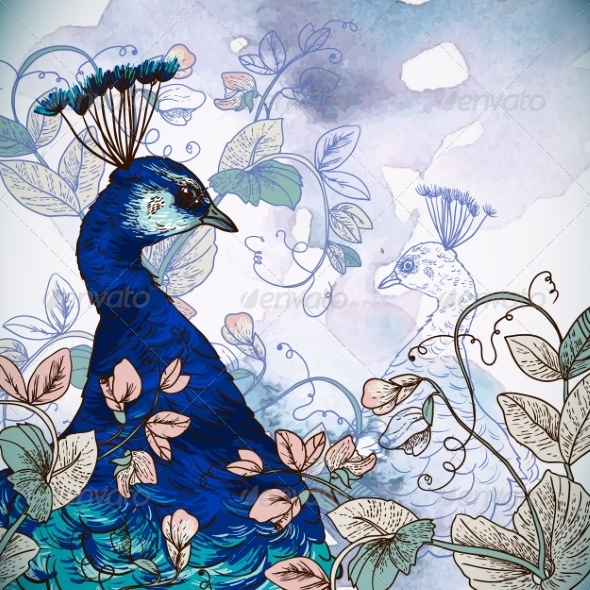 Floral Background with Peacock - Patterns Decorative