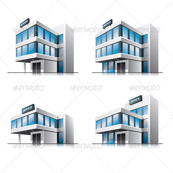 Four Cartoon Office Buildings - Buildings Objects