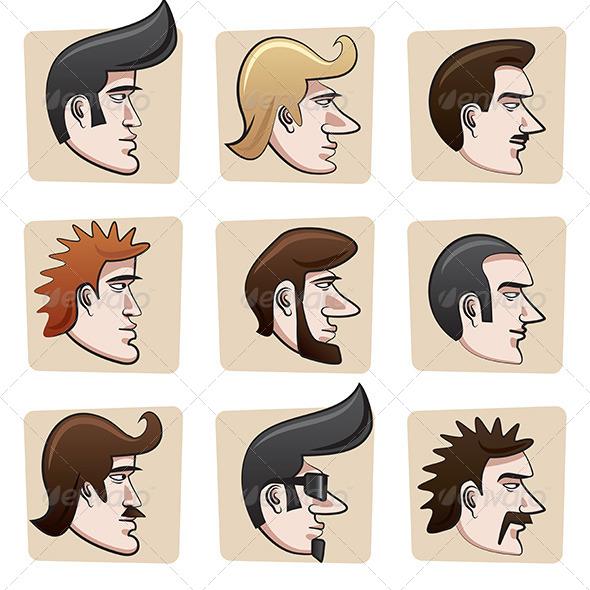 Cartoon Men Heads - People Characters