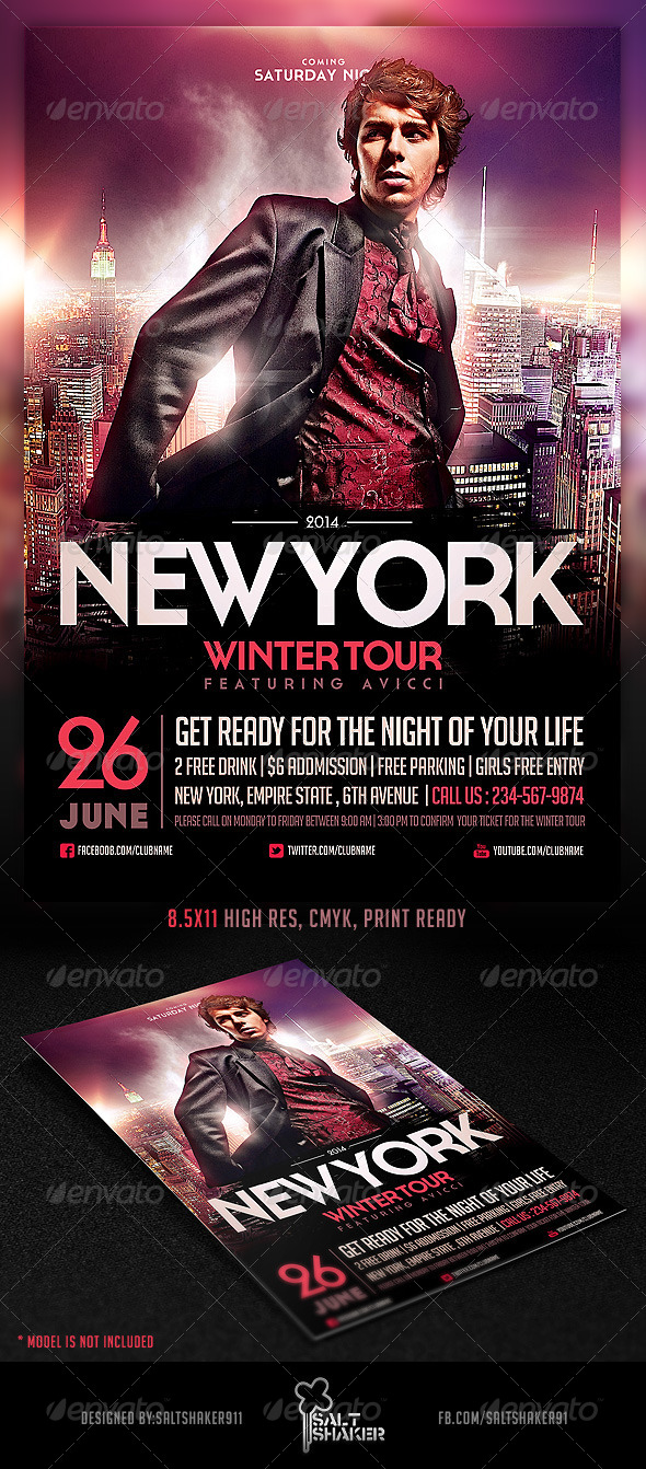 NYC Electro House Dj Flyer Template - Clubs & Parties Events