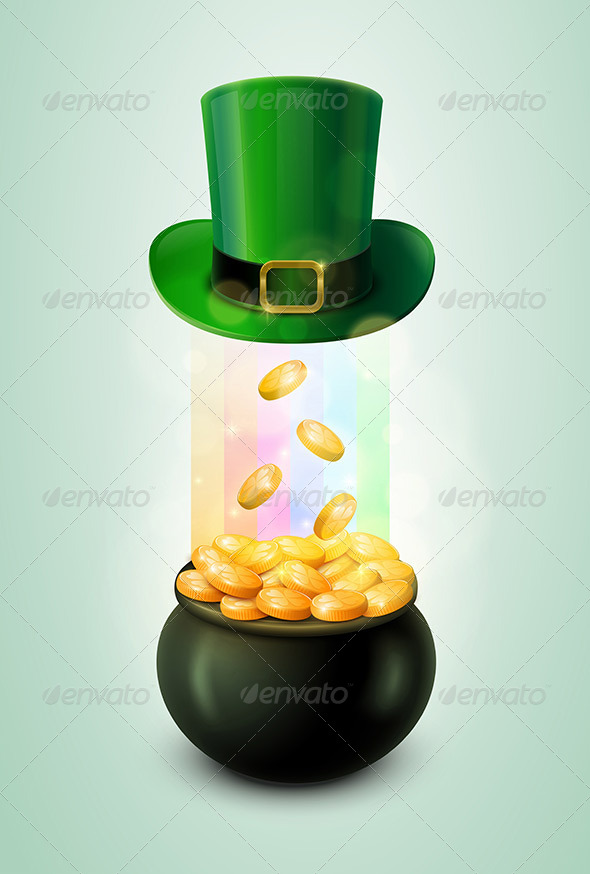Pot of Gold and Green Leprechaun Hat - Seasons/Holidays Conceptual