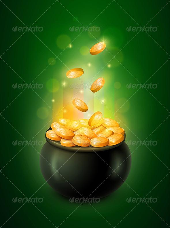 Pot of Gold and Green Leprechaun Hat - Seasons/Holidays Conceptual