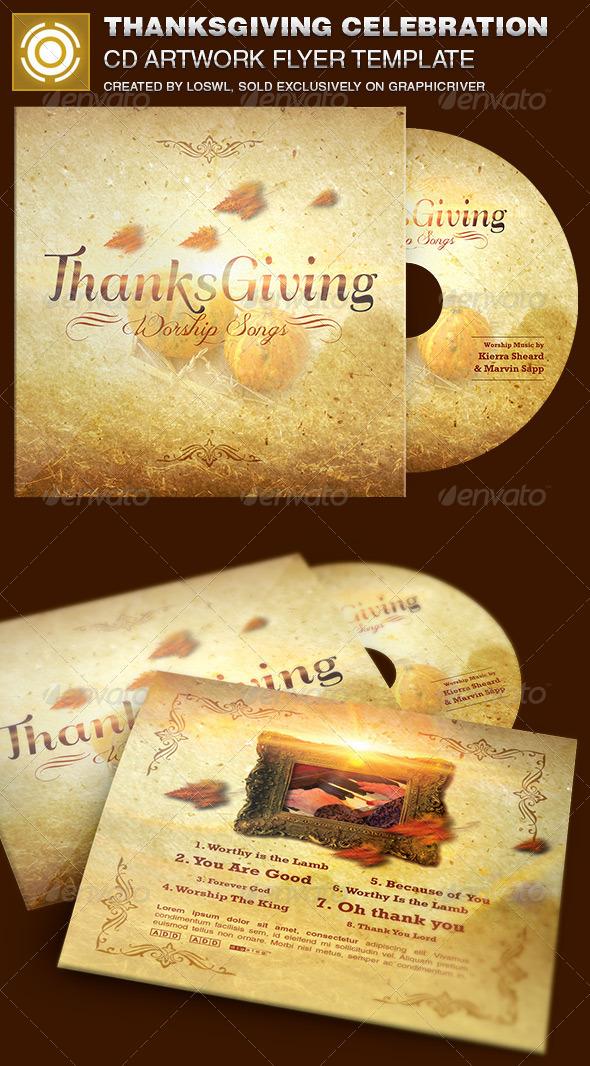 Thanksgiving Celebration CD Artwork Template - CD & DVD Artwork Print Templates