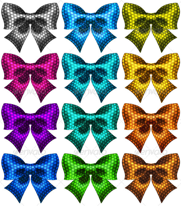 Twelve Holiday Polka Dot Bow-Knots - Decorative Symbols Decorative