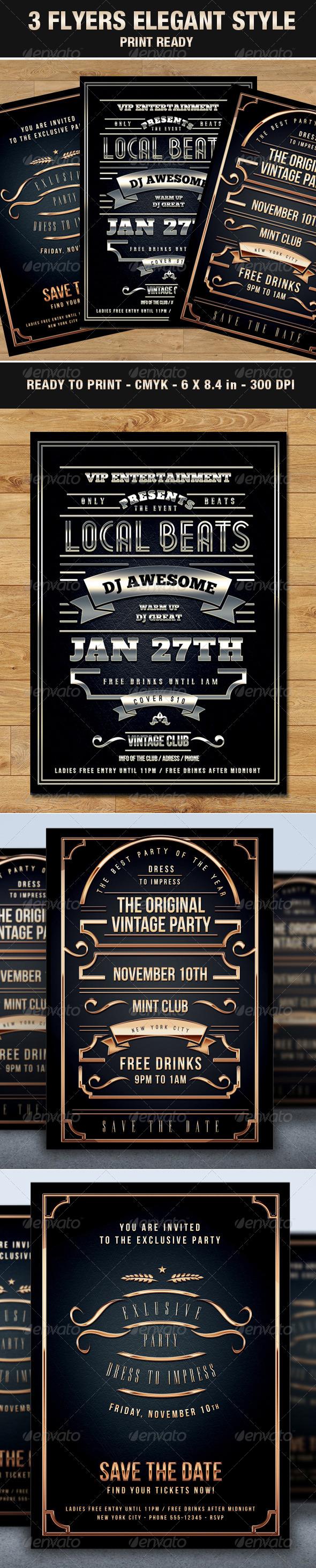 3 Flyers Elegant & Vip Style Vintage Typography - Events Flyers