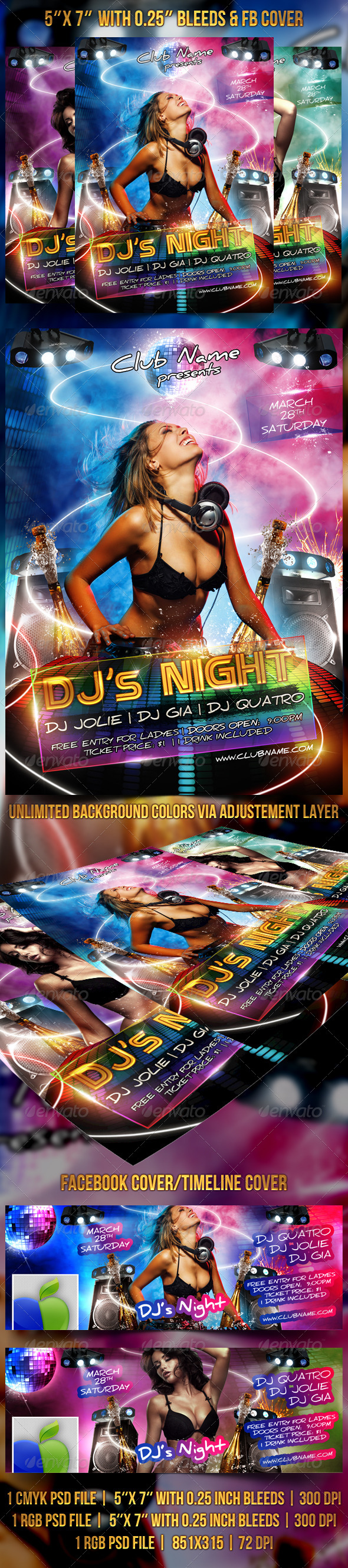 DJ's Night Flyer / FB Cover - Clubs & Parties Events