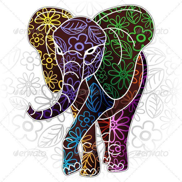 Elephant Floral Batik Art Design - Animals Characters
