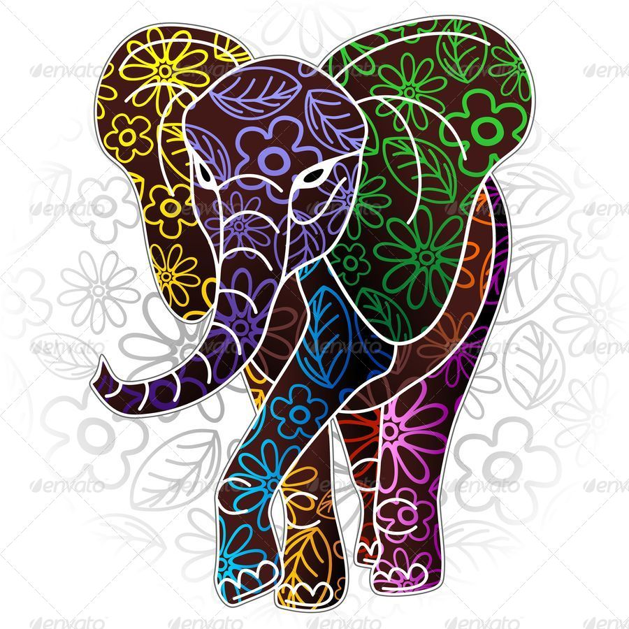 Elephant Floral Batik Art Design By Bluedarkat