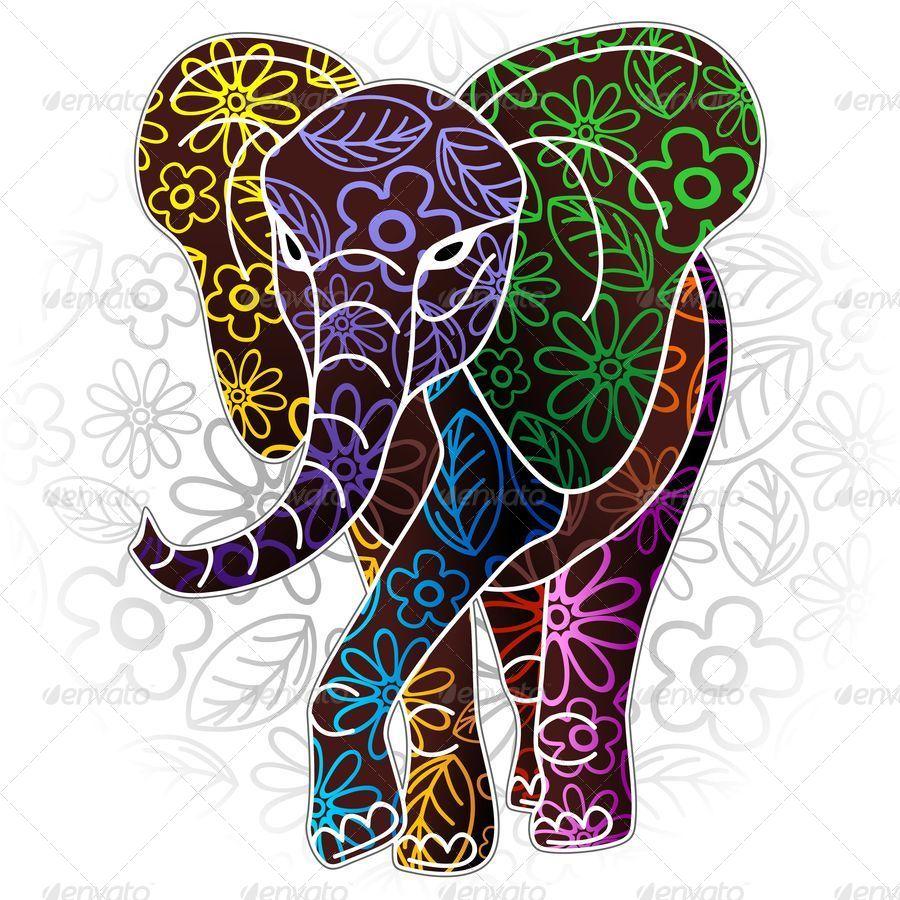 Colour Line Art Design : Elephant floral batik art design by bluedarkat graphicriver