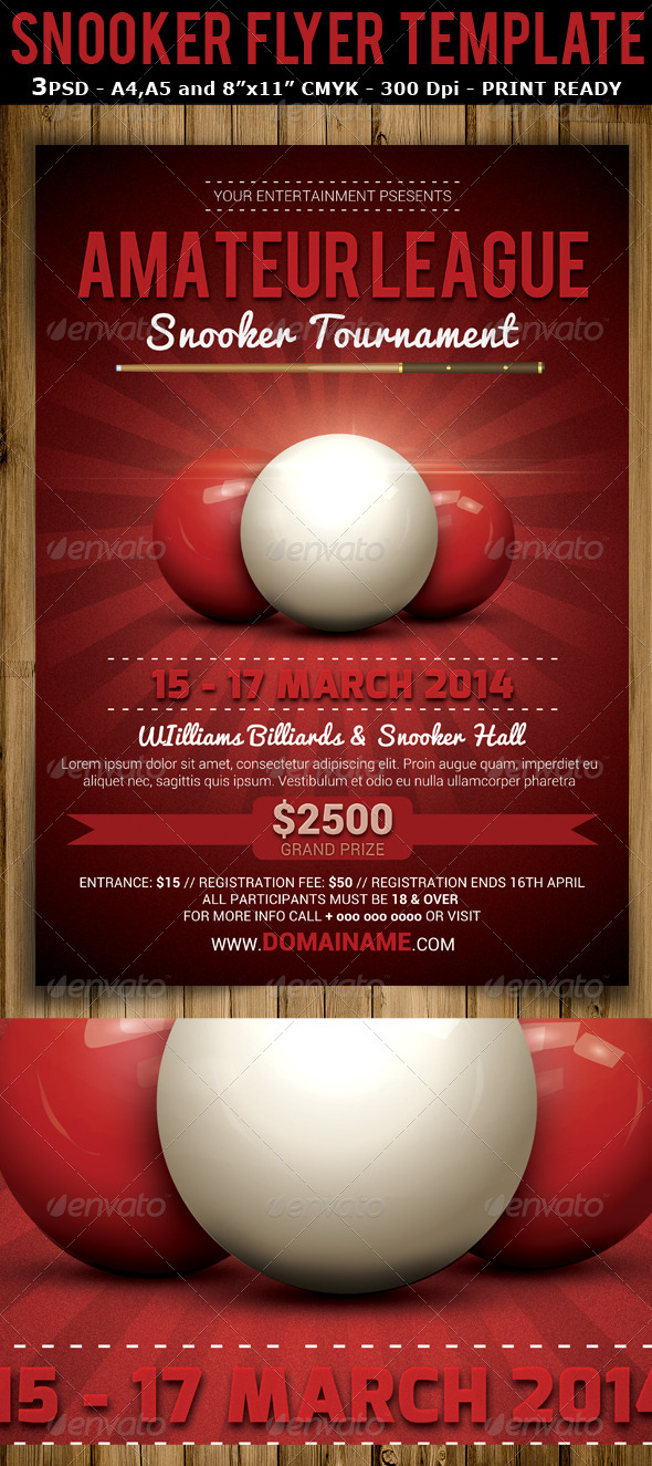 Snooker Tournament Flyer Template V2 - Sports Events