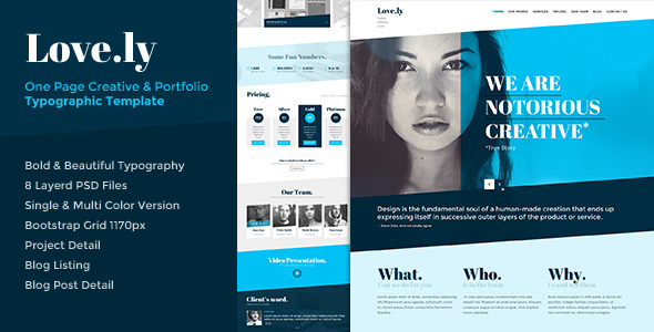 Love.ly – One Page Typographic Parallax PSD