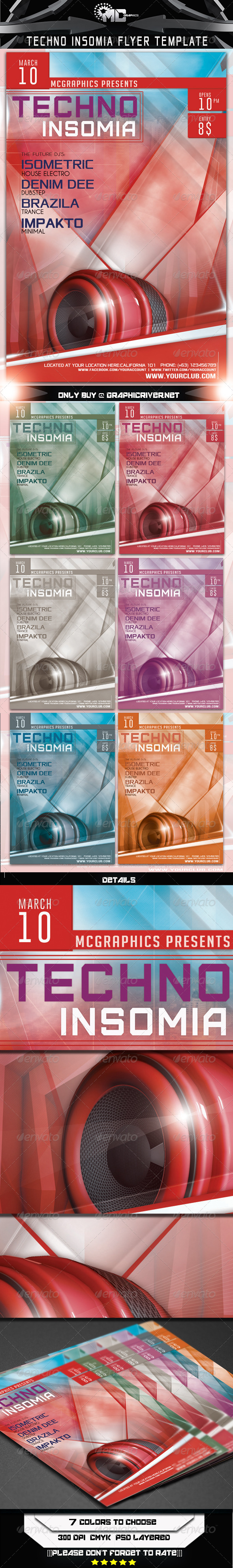 Techno Insomia Flyer Template - Flyers Print Templates