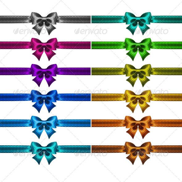 Twelve Holiday Polka Dot Bows with Ribbons - Decorative Symbols Decorative