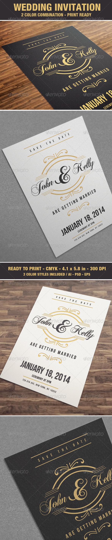Elegant & Vintage Wedding Invitation / Card V4 - Weddings Cards & Invites