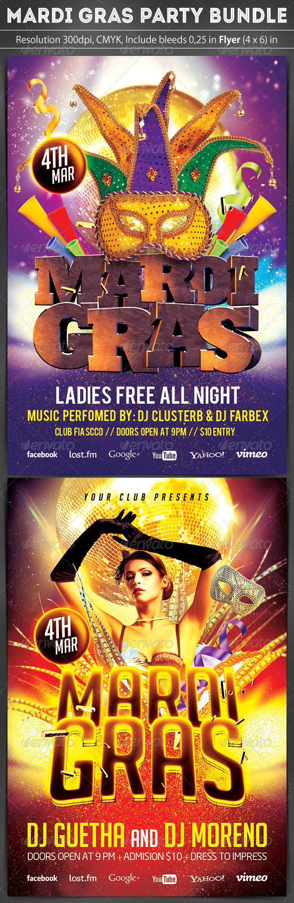 Mardi Gras Flyer Bundle 2 in 1 - Clubs & Parties Events