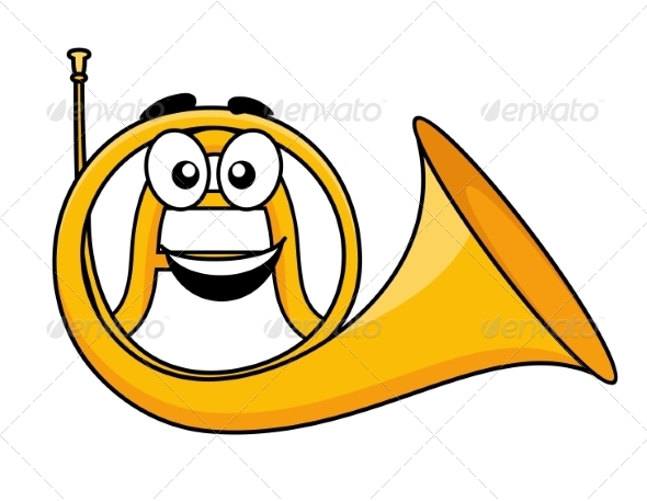 Cartoon French Horn - Man-made Objects Objects